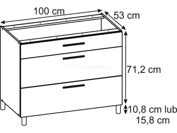 Szafka Bella PSZ 100-3 Bianco dolna z szufladami
