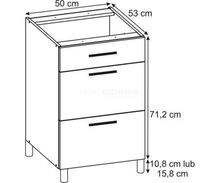 Szafka Bella PSZ 50-3 Graphite dolna z szufladami
