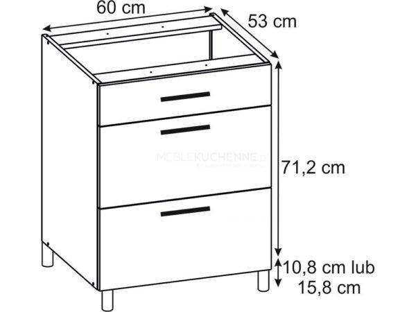 Szafka Bella PSZ 60-3 Bianco dolna z szufladami