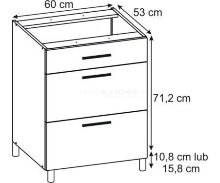 Szafka Bella PSZ 60-3 Graphite dolna z szufladami