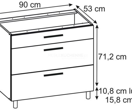 Szafka Bella PSZ 90-3 Graphite dolna z szufladami