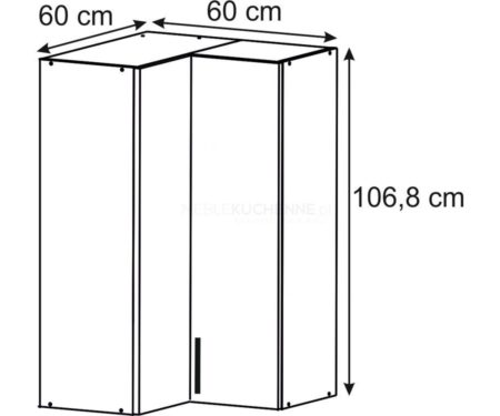 Szafka Bella UNHO 60 Graphite górna narożna