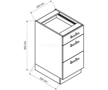 Szafka Denis D40 S-3 z szufladami biała satyna