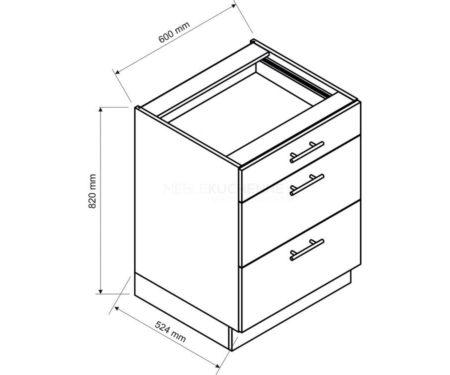 Szafka Denis D60 S-3 z szufladami biała satyna
