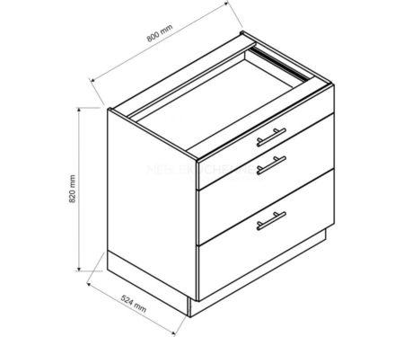 Szafka Denis D80 S-3 z szufladami biała satyna