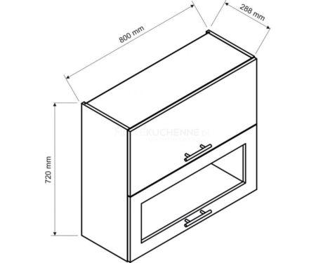 Szafka Denis W80 GRF-2 SD witrynowa biała satyna
