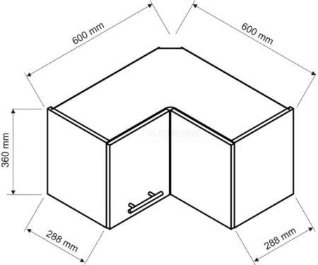 Szafka Denis WRN-36 P-L narożna biała satyna