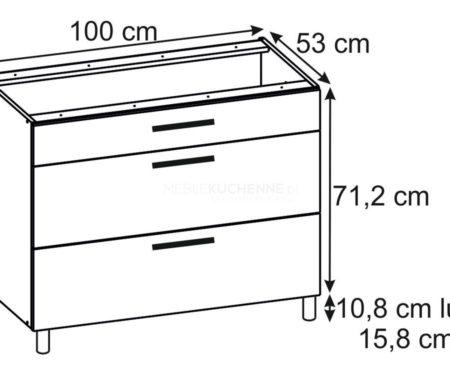 Szafka Ascari PSZ 100-3 Bianco dolna z szufladami