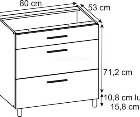 Szafka Ascari PSZ 80-3 Bianco dolna z szufladami