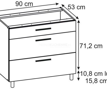 Szafka Ascari PSZ 90-3 Bianco dolna z szufladami