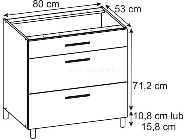 Szafka Ruka PSZ 80-3 Cream dolna z szufladami