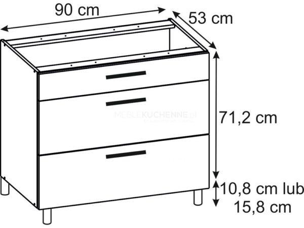 Szafka Ruka PSZ 90-3 Cream dolna z szufladami