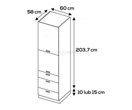 Słupek zabudowa AGD Campari SPD6-3 szary mat akryl
