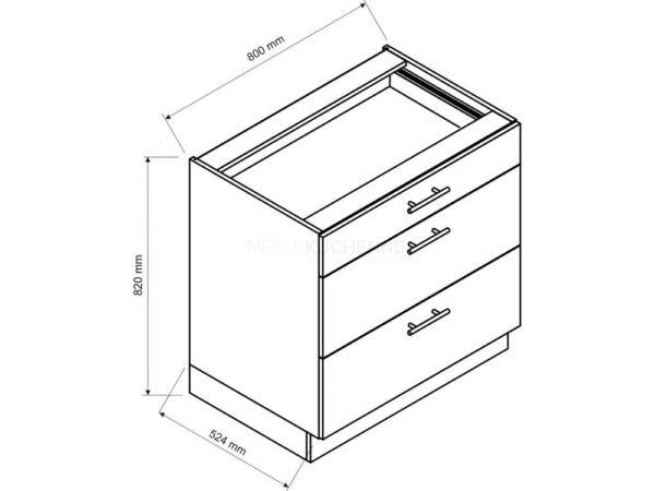 Szafka Bono D80 S-3 z szufladami dąb burlington