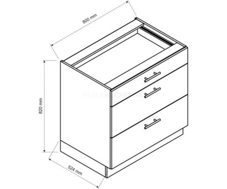 Szafka Bono D80 S-3 z szufladami dąb lefkas