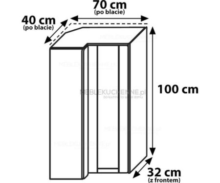 Szafka górna narożna Olivia Soft WRP70x40-100L buk
